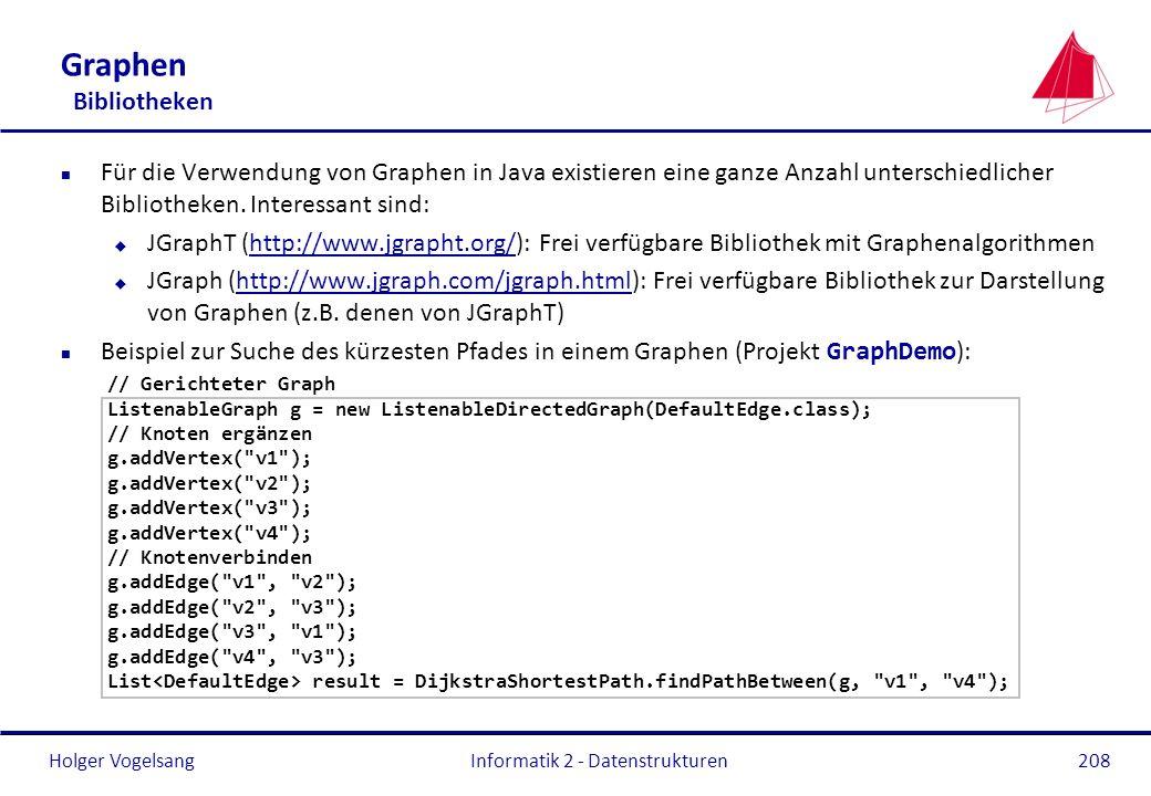 Holger Vogelsang Graphen Bibliotheken n Für die Verwendung von Graphen in Java existieren eine ganze Anzahl unterschiedlicher Bibliotheken. Interessan