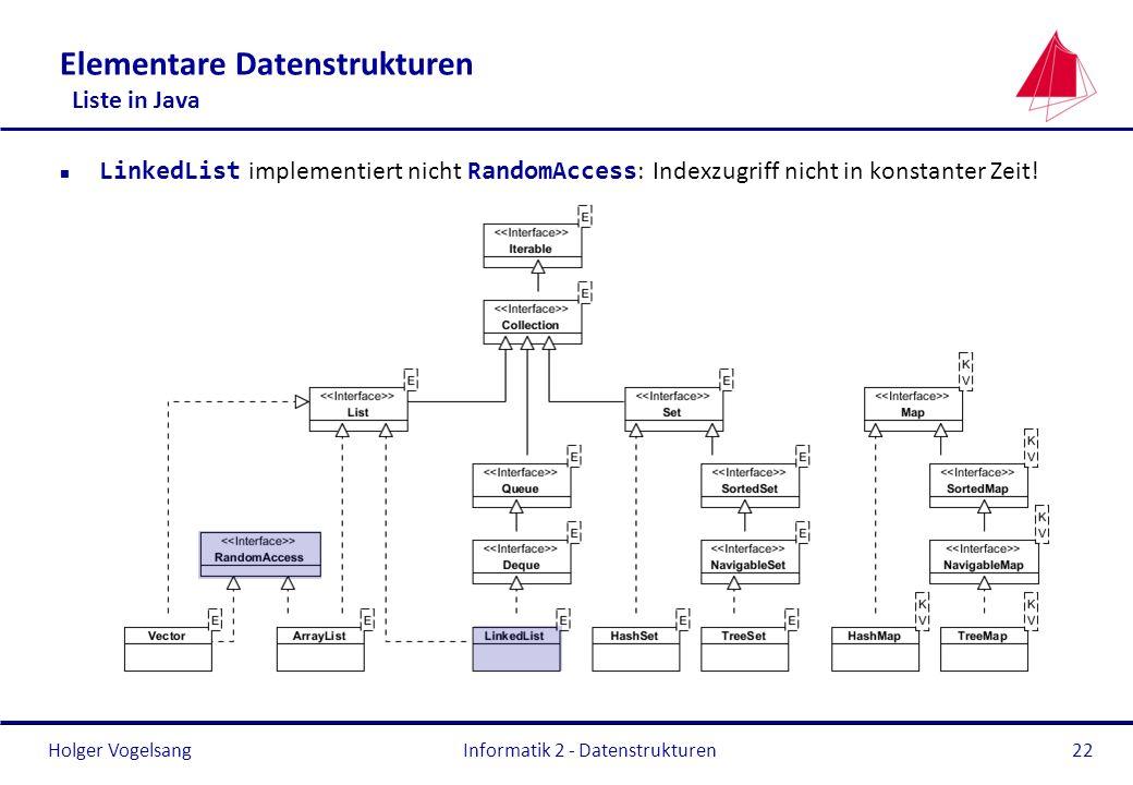 Holger Vogelsang Informatik 2 - Datenstrukturen22 Elementare Datenstrukturen Liste in Java LinkedList implementiert nicht RandomAccess : Indexzugriff
