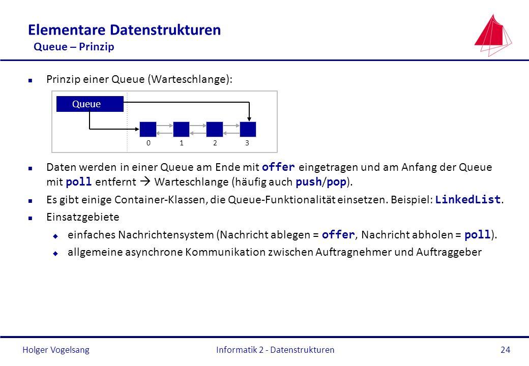 Holger Vogelsang Informatik 2 - Datenstrukturen24 Elementare Datenstrukturen Queue – Prinzip n Prinzip einer Queue (Warteschlange): Daten werden in ei