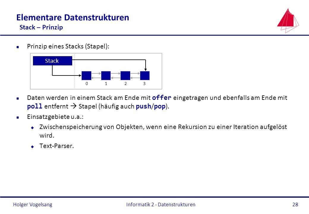 Holger Vogelsang Informatik 2 - Datenstrukturen28 Elementare Datenstrukturen Stack – Prinzip n Prinzip eines Stacks (Stapel): Daten werden in einem St