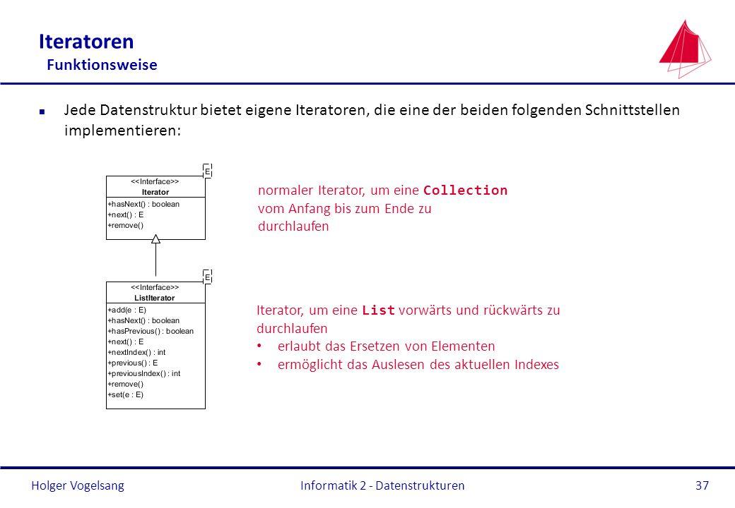 Holger Vogelsang Informatik 2 - Datenstrukturen37 Iteratoren Funktionsweise n Jede Datenstruktur bietet eigene Iteratoren, die eine der beiden folgend
