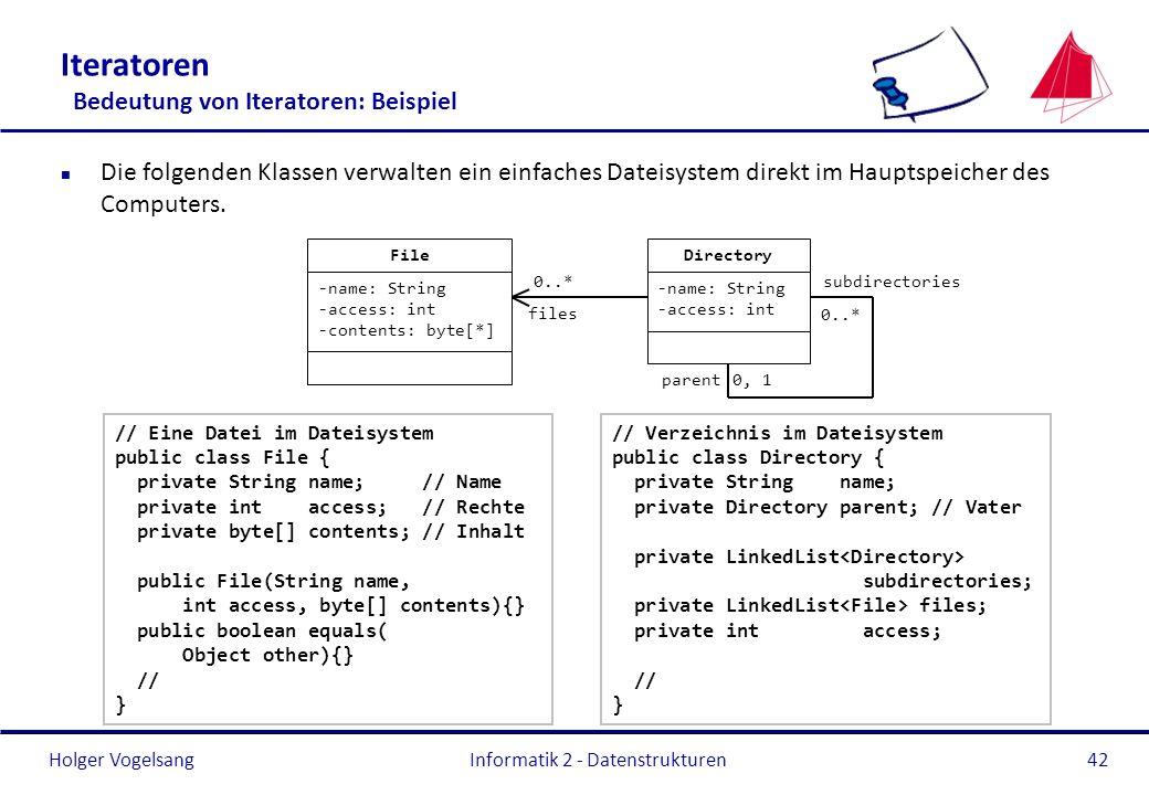 Holger Vogelsang Informatik 2 - Datenstrukturen42 Iteratoren Bedeutung von Iteratoren: Beispiel n Die folgenden Klassen verwalten ein einfaches Dateis