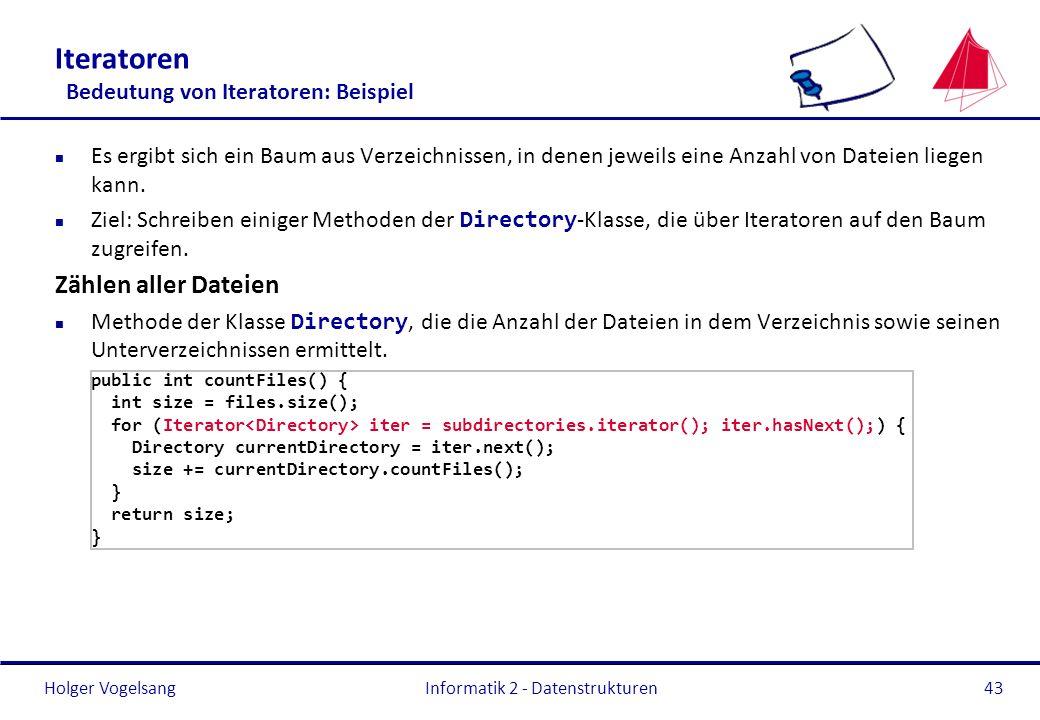 Holger Vogelsang Informatik 2 - Datenstrukturen43 Iteratoren Bedeutung von Iteratoren: Beispiel n Es ergibt sich ein Baum aus Verzeichnissen, in denen