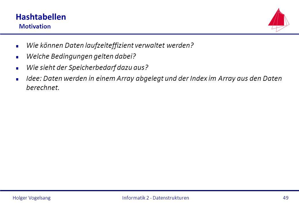 Holger Vogelsang Informatik 2 - Datenstrukturen49 Hashtabellen Motivation n Wie können Daten laufzeiteffizient verwaltet werden? n Welche Bedingungen