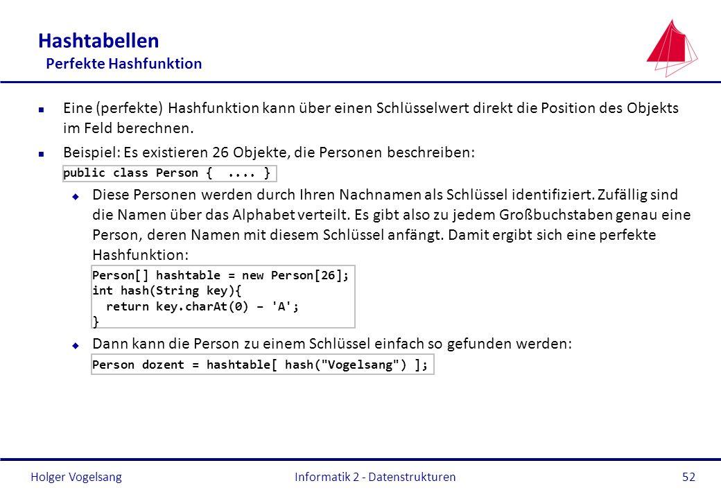 Holger Vogelsang Informatik 2 - Datenstrukturen52 Hashtabellen Perfekte Hashfunktion n Eine (perfekte) Hashfunktion kann über einen Schlüsselwert dire