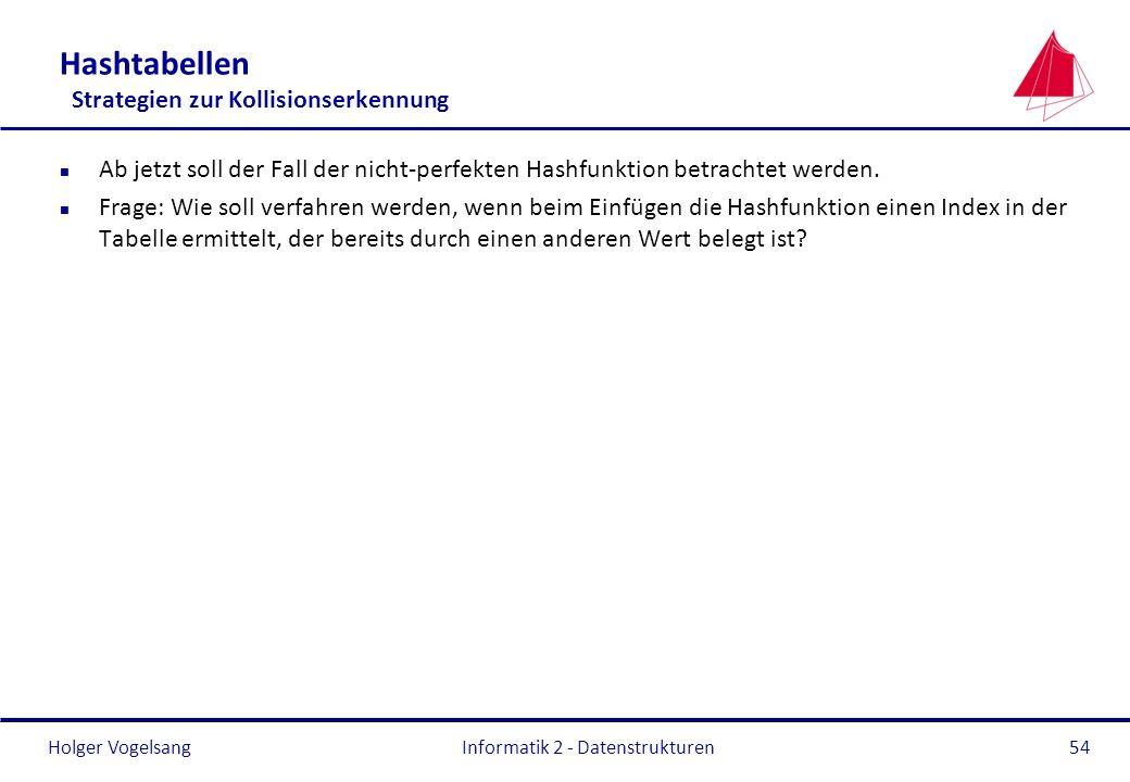 Holger Vogelsang Informatik 2 - Datenstrukturen54 Hashtabellen Strategien zur Kollisionserkennung n Ab jetzt soll der Fall der nicht-perfekten Hashfun
