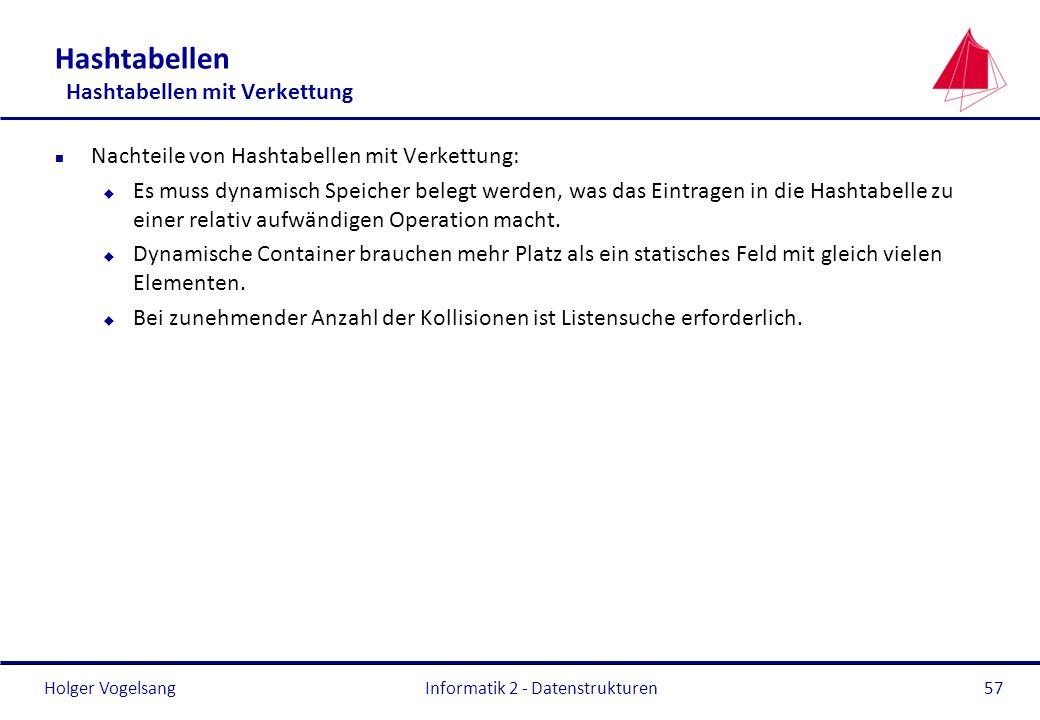 Holger Vogelsang Informatik 2 - Datenstrukturen57 Hashtabellen Hashtabellen mit Verkettung n Nachteile von Hashtabellen mit Verkettung: u Es muss dyna
