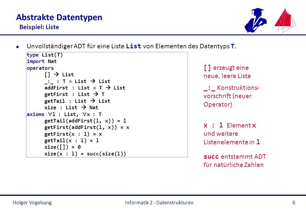 Holger Vogelsang Informatik 2 - Datenstrukturen117 Bäume Binärer Suchbaum – Beispielanwendung public class SimpleTreeMapTest { public static void main(String[] args) { SimpleTreeMap simpleTreeMap = new SimpleTreeMap<>(); simpleTreeMap.add( Question , 66); simpleTreeMap.add( Answer , 42); System.out.println(simpleTreeMap.get( Question )); System.out.println(simpleTreeMap.get( Answer?? )); }