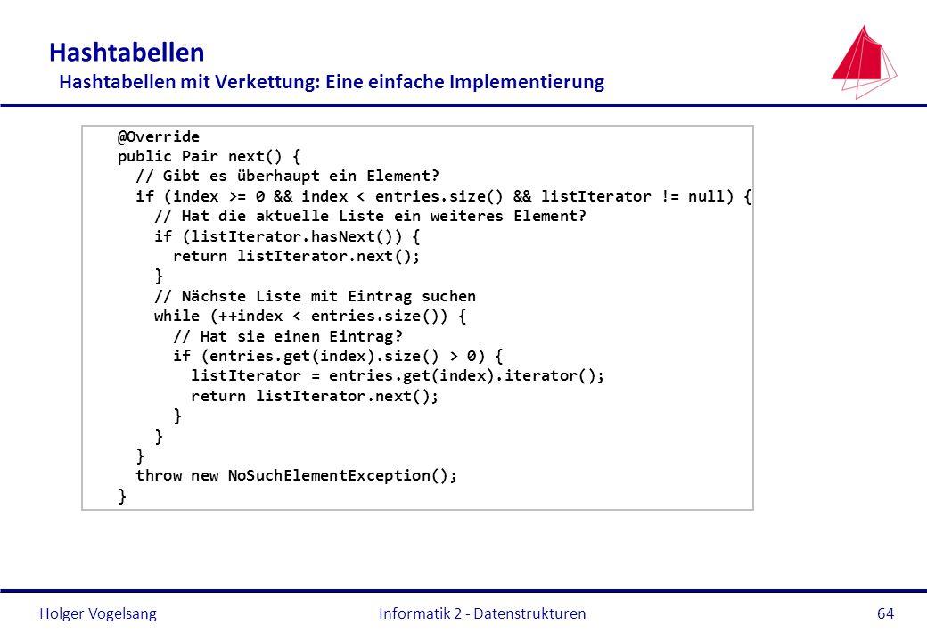 Holger Vogelsang Informatik 2 - Datenstrukturen64 Hashtabellen Hashtabellen mit Verkettung: Eine einfache Implementierung @Override public Pair next()