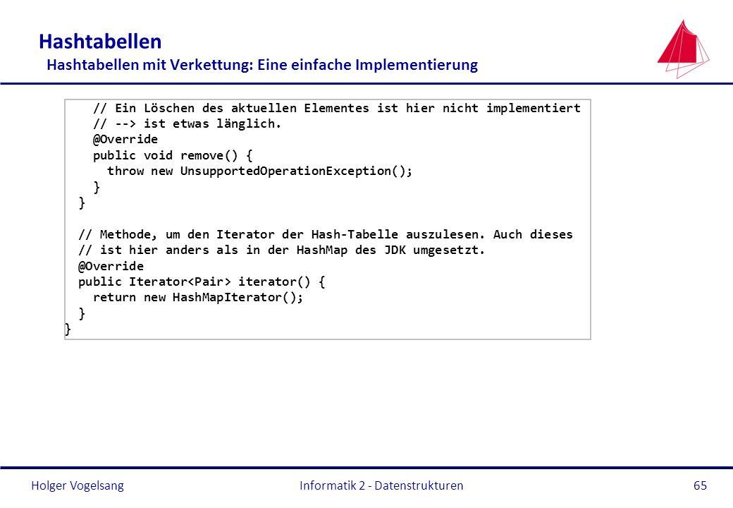 Holger Vogelsang Informatik 2 - Datenstrukturen65 Hashtabellen Hashtabellen mit Verkettung: Eine einfache Implementierung // Ein Löschen des aktuellen