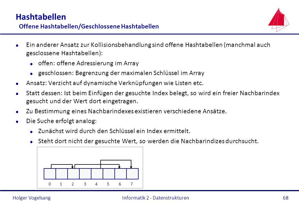 Holger Vogelsang Informatik 2 - Datenstrukturen68 Hashtabellen Offene Hashtabellen/Geschlossene Hashtabellen n Ein anderer Ansatz zur Kollisionsbehand