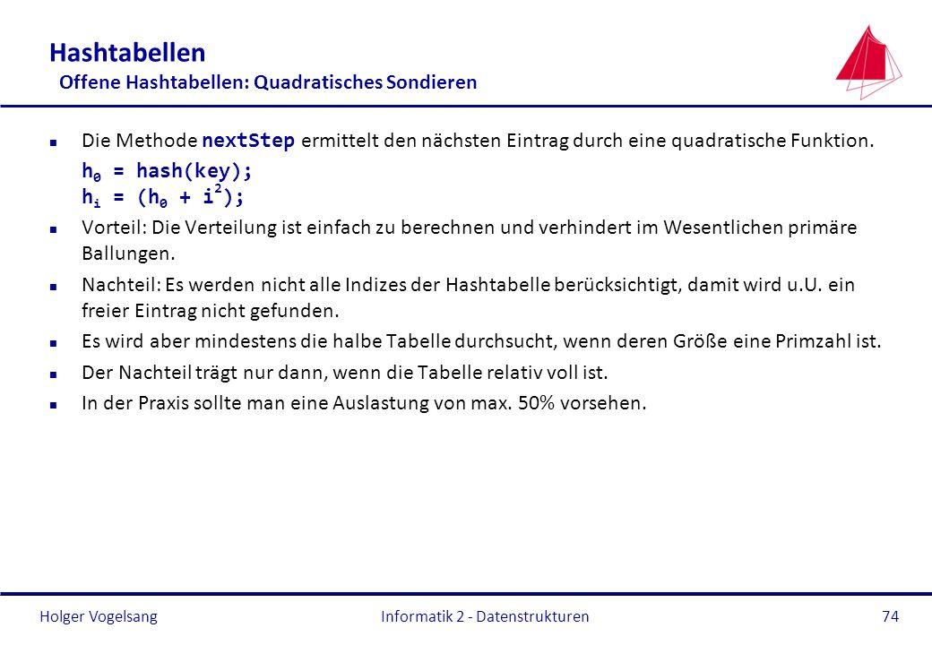 Holger Vogelsang Informatik 2 - Datenstrukturen74 Hashtabellen Offene Hashtabellen: Quadratisches Sondieren Die Methode nextStep ermittelt den nächste