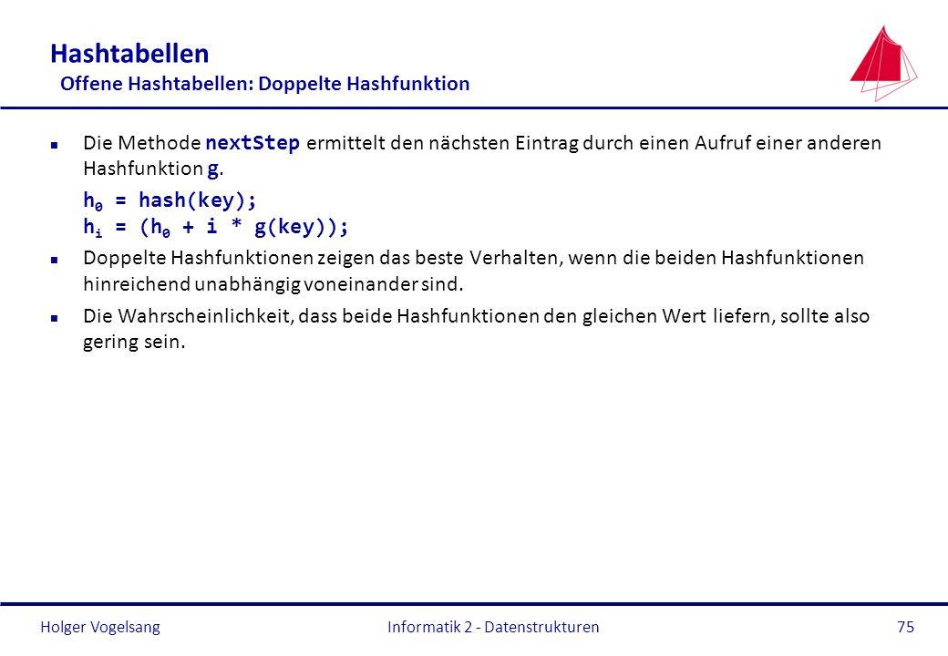 Holger Vogelsang Informatik 2 - Datenstrukturen75 Hashtabellen Offene Hashtabellen: Doppelte Hashfunktion Die Methode nextStep ermittelt den nächsten