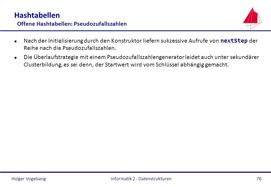 Holger Vogelsang Informatik 2 - Datenstrukturen76 Hashtabellen Offene Hashtabellen: Pseudozufallszahlen Nach der Initialisierung durch den Konstruktor