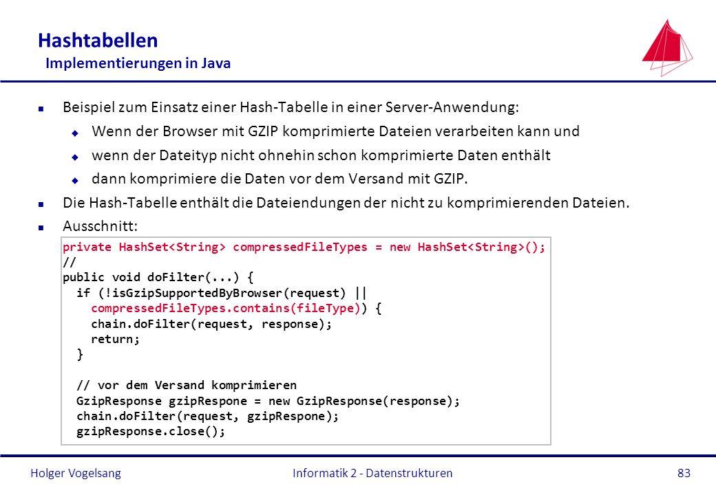Holger Vogelsang Hashtabellen Implementierungen in Java n Beispiel zum Einsatz einer Hash-Tabelle in einer Server-Anwendung: u Wenn der Browser mit GZ