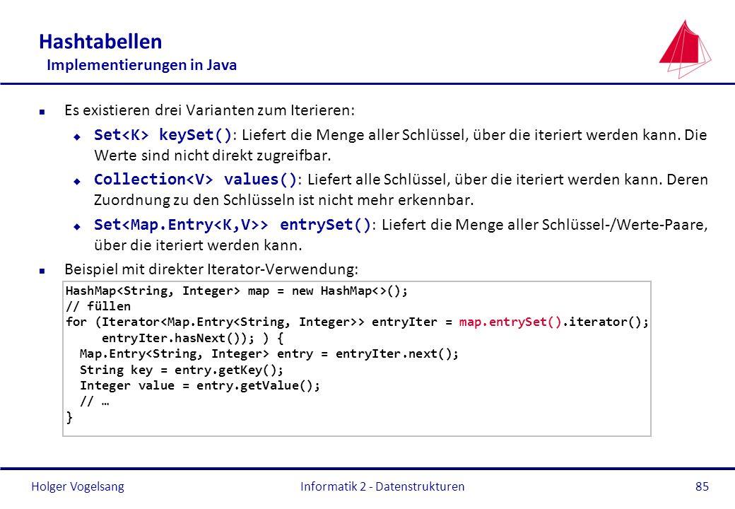 Holger Vogelsang Hashtabellen Implementierungen in Java n Es existieren drei Varianten zum Iterieren: Set keySet() : Liefert die Menge aller Schlüssel