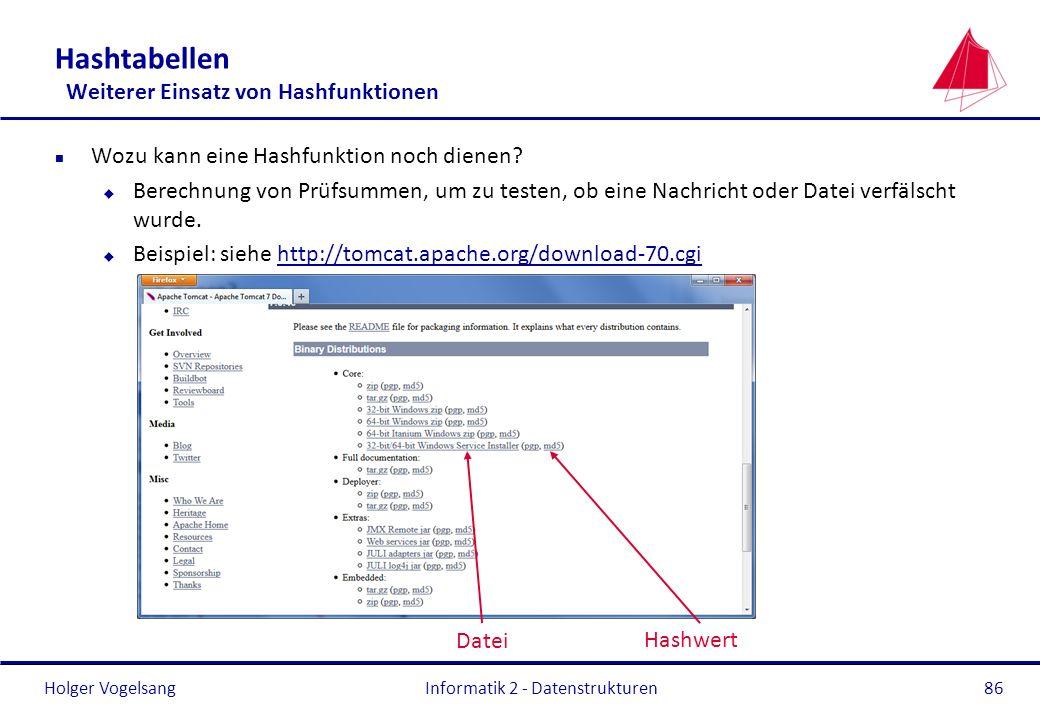 Holger Vogelsang 86 Hashtabellen Weiterer Einsatz von Hashfunktionen n Wozu kann eine Hashfunktion noch dienen? u Berechnung von Prüfsummen, um zu tes