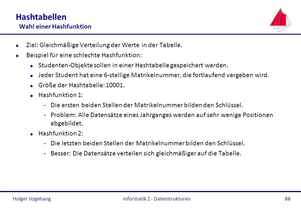 Holger Vogelsang Informatik 2 - Datenstrukturen88 Hashtabellen Wahl einer Hashfunktion n Ziel: Gleichmäßige Verteilung der Werte in der Tabelle. n Bei