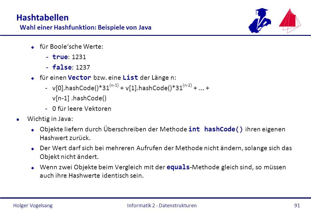 Holger Vogelsang Informatik 2 - Datenstrukturen91 Hashtabellen Wahl einer Hashfunktion: Beispiele von Java u für Boolesche Werte: -true : 1231 -false