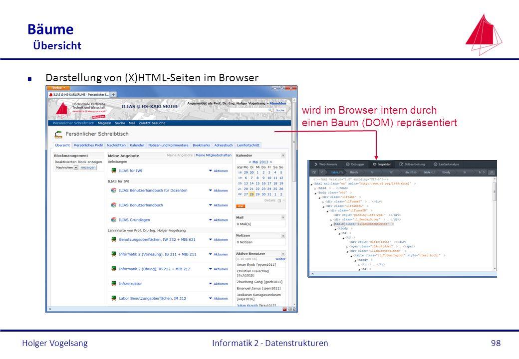 Holger Vogelsang Bäume Übersicht n Darstellung von (X)HTML-Seiten im Browser Informatik 2 - Datenstrukturen98 wird im Browser intern durch einen Baum