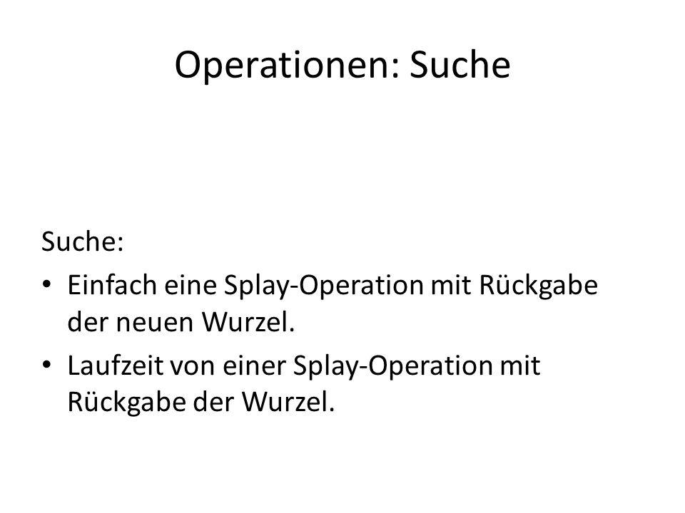 Operationen: Suche Suche: Einfach eine Splay-Operation mit Rückgabe der neuen Wurzel. Laufzeit von einer Splay-Operation mit Rückgabe der Wurzel.