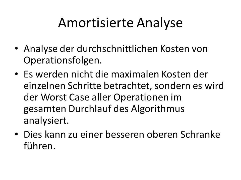 Amortisierte Analyse Analyse der durchschnittlichen Kosten von Operationsfolgen. Es werden nicht die maximalen Kosten der einzelnen Schritte betrachte