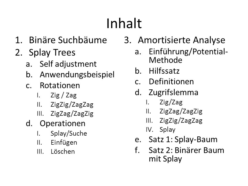 Inhalt 1.Binäre Suchbäume 2.Splay Trees a.Self adjustment b.Anwendungsbeispiel c.Rotationen I.Zig / Zag II.ZigZig/ZagZag III.ZigZag/ZagZig d.Operation