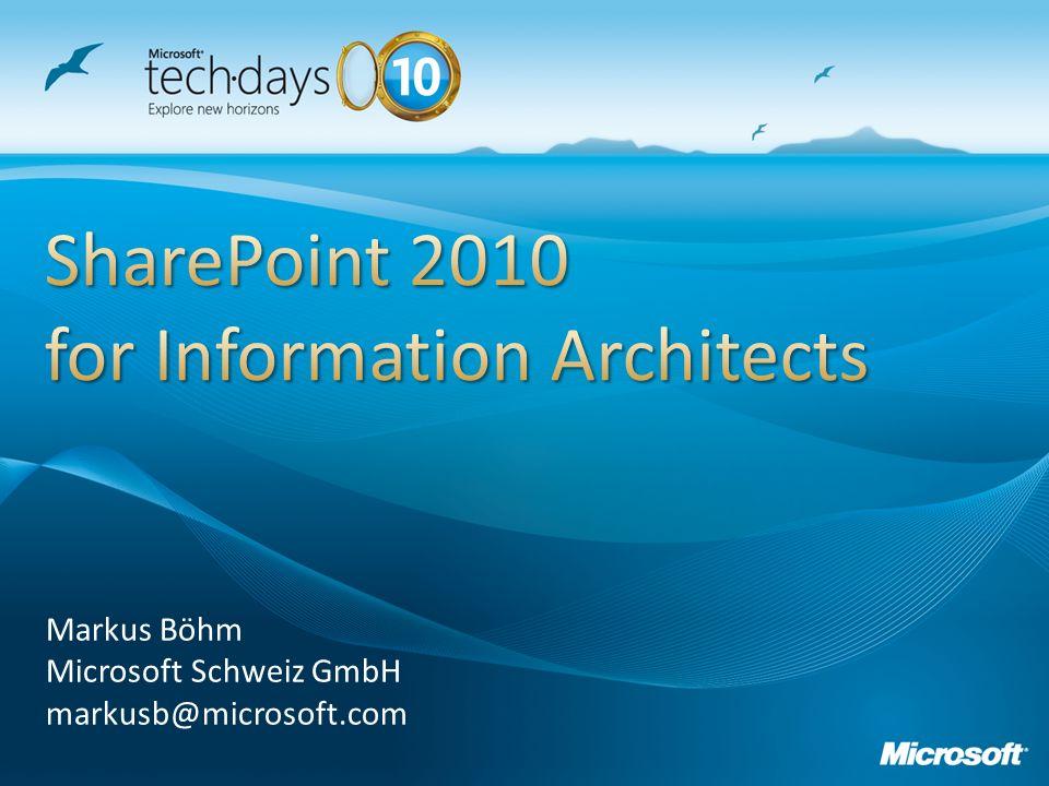 Markus Böhm Microsoft Schweiz GmbH markusb@microsoft.com