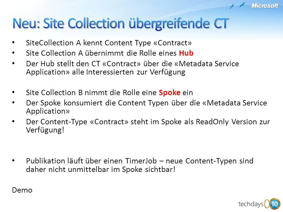 SiteCollection A kennt Content Type «Contract» Site Collection A übernimmt die Rolle eines Hub Der Hub stellt den CT «Contract» über die «Metadata Ser