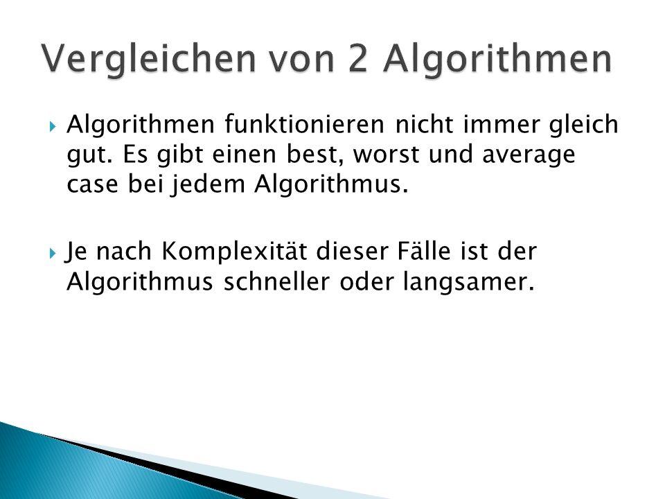 AlgorithmusBest caseWorst caseAverage case AuswahlsortierungO(n²) BubblesortO(n)O(n²) MergesortO(n log(n)) QuicksortO(n log(n))O(n²)O(n log(n))