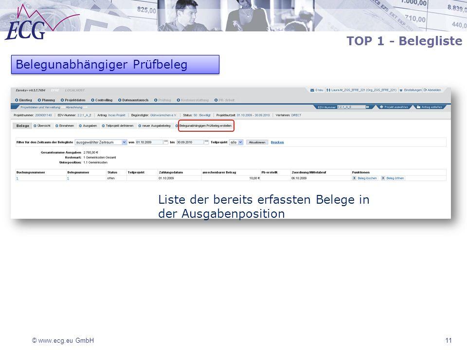 © www.ecg.eu GmbH 11 Belegunabhängiger Prüfbeleg Liste der bereits erfassten Belege in der Ausgabenposition TOP 1 - Belegliste