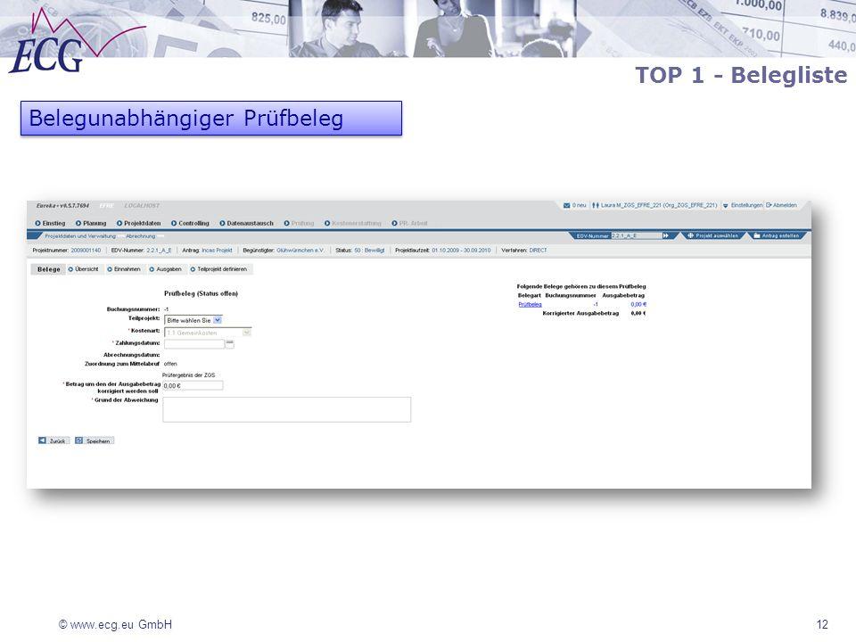 © www.ecg.eu GmbH 12 Belegunabhängiger Prüfbeleg TOP 1 - Belegliste