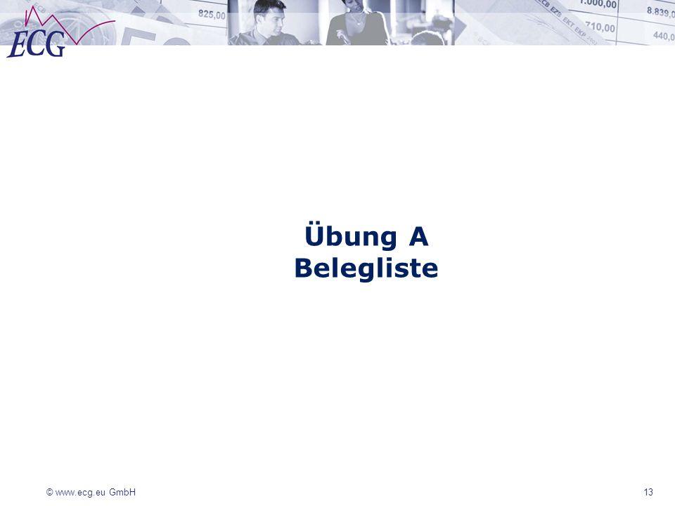 © www.ecg.eu GmbH 13 Übung A Belegliste