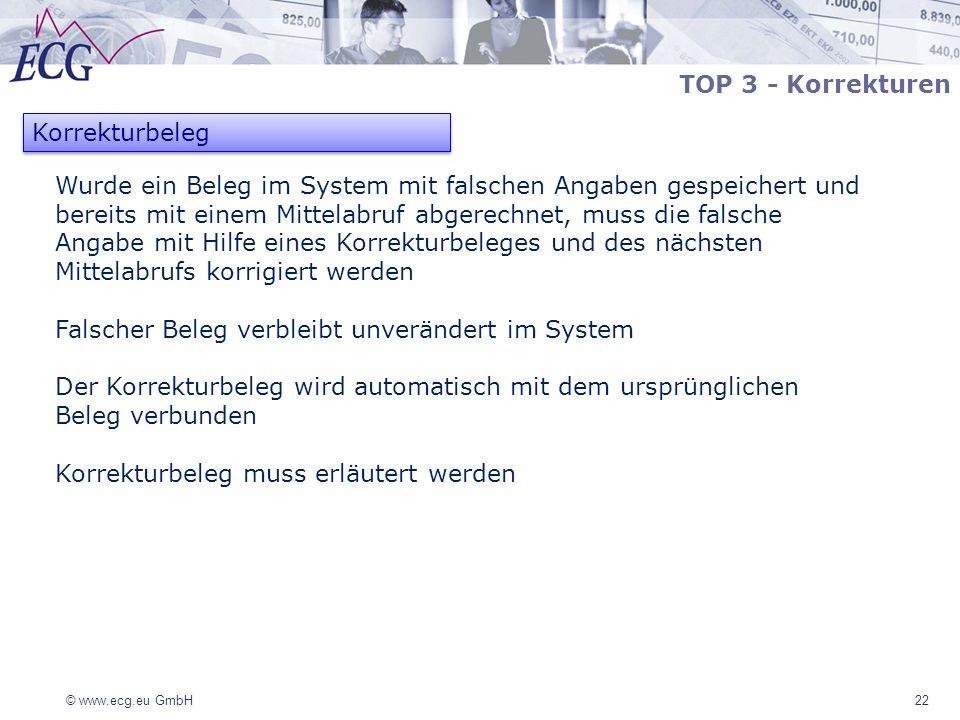 © www.ecg.eu GmbH 22 Korrekturbeleg TOP 3 - Korrekturen Wurde ein Beleg im System mit falschen Angaben gespeichert und bereits mit einem Mittelabruf a