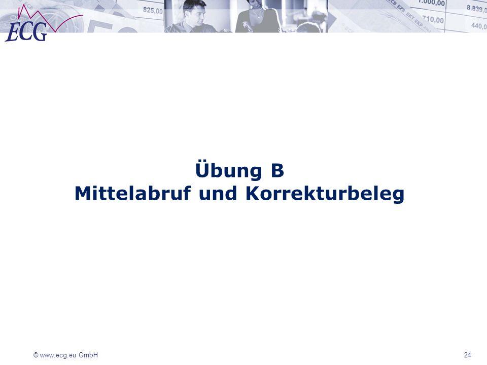 © www.ecg.eu GmbH 24 Übung B Mittelabruf und Korrekturbeleg