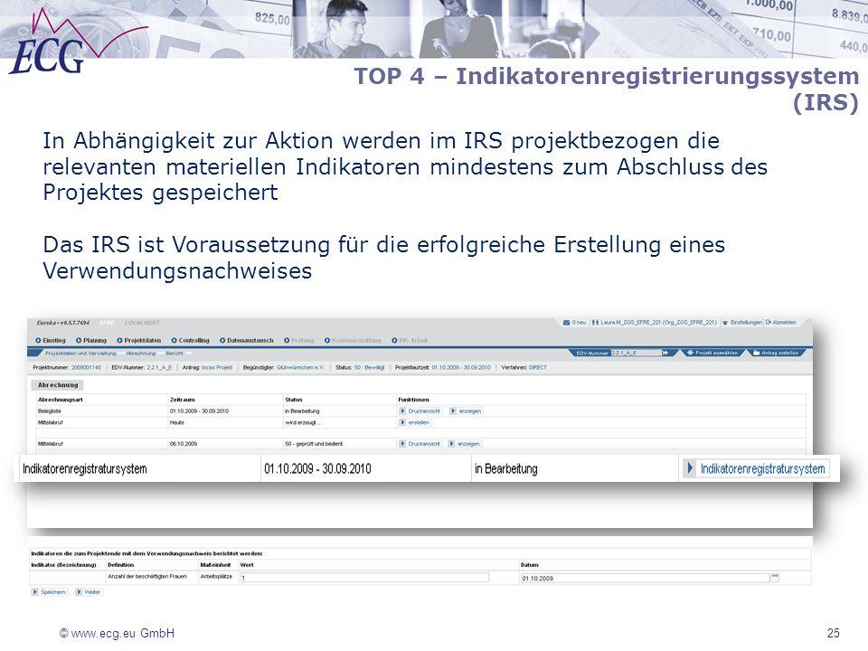 © www.ecg.eu GmbH 25 TOP 4 – Indikatorenregistrierungssystem (IRS) In Abhängigkeit zur Aktion werden im IRS projektbezogen die relevanten materiellen