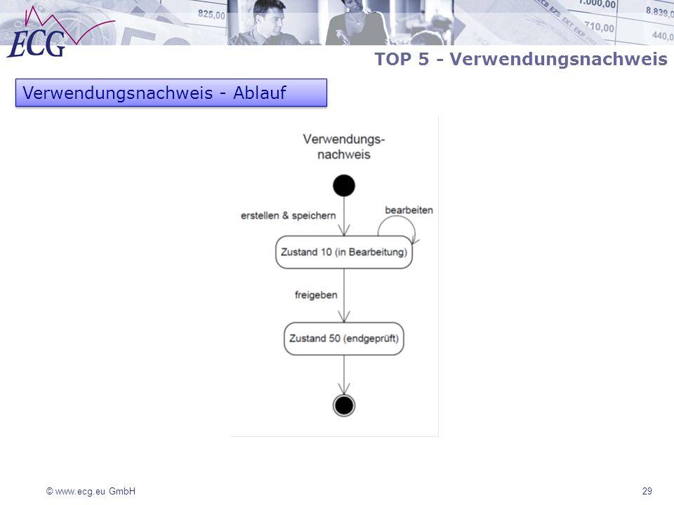 © www.ecg.eu GmbH 29 Verwendungsnachweis - Ablauf TOP 5 - Verwendungsnachweis