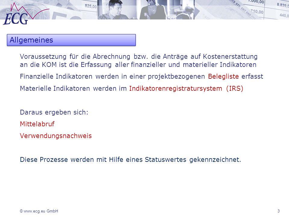 © www.ecg.eu GmbH 14 TOP 2 - Mittelabruf Mit einem Mittelabruf (MA) kann die ZGS die finanziellen Ist-Indikatoren für einen bestimmten Zeitraum auf der Grundlage der im System erfassten Belege abrechnen und dokumentieren Ein Mittelabruf ist jederzeit während der Projektdurchführung möglich, mindestens jedoch zum Projektabschluss zusammen mit dem Verwendungsnachweis (VN) Zeitgleich ist immer nur ein Mittelabruf möglich Die Zuordnung der Belege zum Mittelabruf erfolgt über das Zahldatum (Zahldatum <= Datum des Mittelabrufs) Der Mittelabruf ist durch die ZGS zu prüfen und bei Anerkennung mit einer Freigabe zu bestätigen Bis zur Freigabe des Mittelabrufs können die dazugehörigen Belege bearbeitet und der Mittelabruf aktualisiert werden, nach Freigabe werden alle dazugehörigen Belege für eine Änderung gesperrt