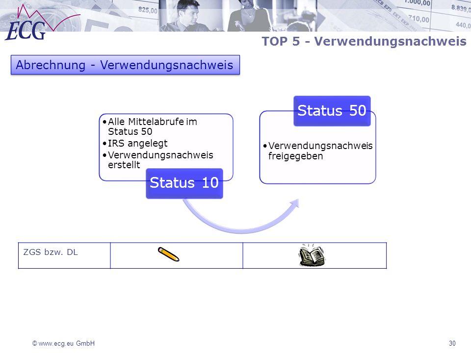 © www.ecg.eu GmbH 30 ZGS bzw. DL Abrechnung - Verwendungsnachweis Alle Mittelabrufe im Status 50 IRS angelegt Verwendungsnachweis erstellt Status 10 V