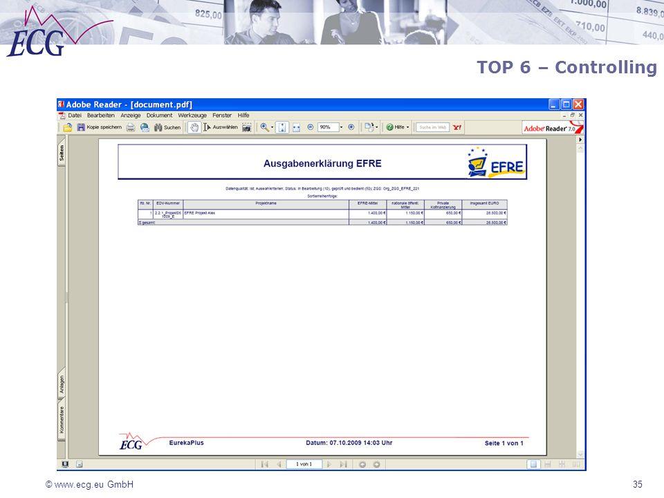 © www.ecg.eu GmbH 35 TOP 6 – Controlling