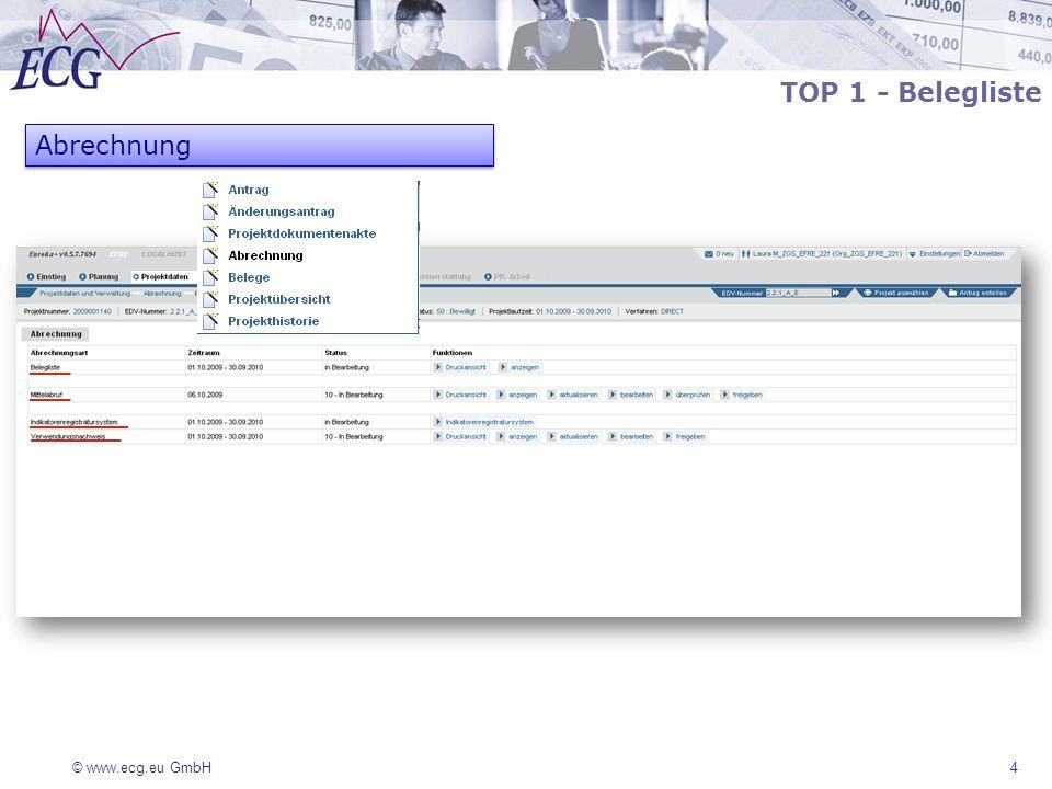© www.ecg.eu GmbH 25 TOP 4 – Indikatorenregistrierungssystem (IRS) In Abhängigkeit zur Aktion werden im IRS projektbezogen die relevanten materiellen Indikatoren mindestens zum Abschluss des Projektes gespeichert Das IRS ist Voraussetzung für die erfolgreiche Erstellung eines Verwendungsnachweises