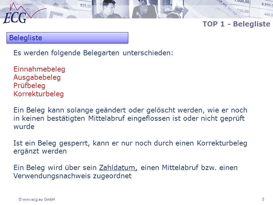 © www.ecg.eu GmbH 5 Es werden folgende Belegarten unterschieden: Einnahmebeleg Ausgabebeleg Prüfbeleg Korrekturbeleg Ein Beleg kann solange geändert o