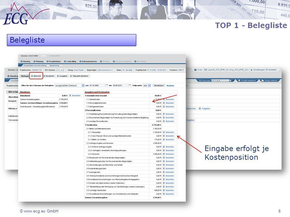 © www.ecg.eu GmbH 17 TOP 2 - Mittelabruf Mittelabruf besteht aus 4 Teilen: Projektzuordnung (nur Anzeige) Ausgaben (Anzeige der Ausgaben nach Kostenarten) Gesamtausgaben (Anzeige der Summen Ausgaben, Einnahmen und zuschussfähige Gesamtausgaben) Finanzierung (zu bearbeiten)
