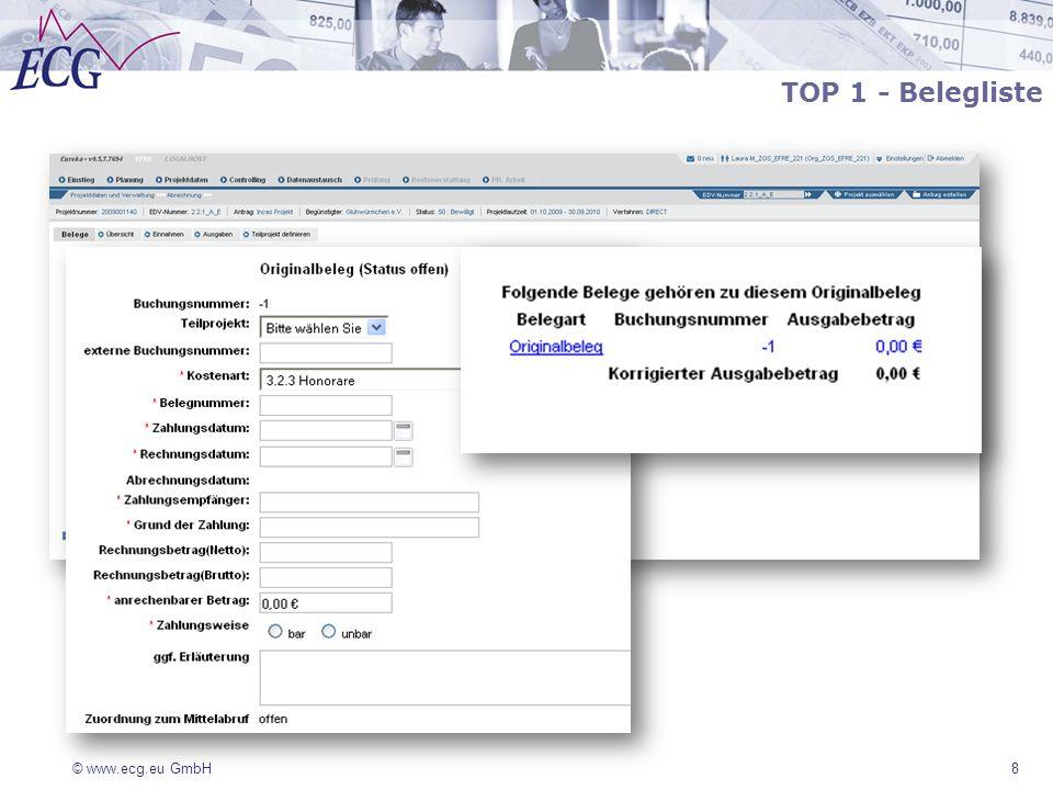 © www.ecg.eu GmbH 9 Ein Prüfbeleg wird von der ZGS im Rahmen einer Prüfhandlung zusätzlich erstellt Der ursprüngliche Beleg verbleibt in der Belegliste Ein Prüfbeleg kann zu einem offenen oder einem schon gesperrten Beleg erzeugt werden und korrigiert kumulativ betrachtet, die bisherige Belegeingabe und Abrechnung Prüfbelege werden immer in die aktuelle Abrechnung/ Mittelabruf einbezogen, d.h.