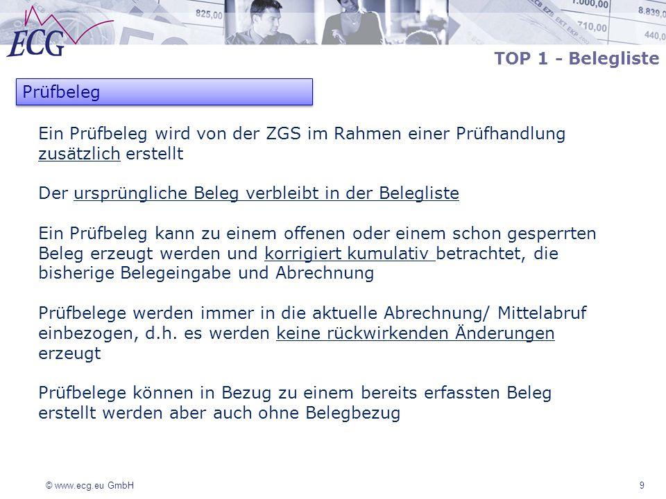 © www.ecg.eu GmbH 9 Ein Prüfbeleg wird von der ZGS im Rahmen einer Prüfhandlung zusätzlich erstellt Der ursprüngliche Beleg verbleibt in der Beleglist