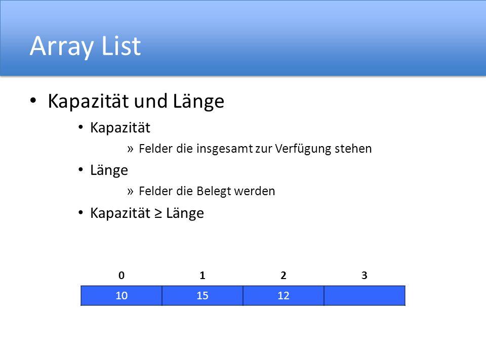 Array List Kapazität und Länge Kapazität » Felder die insgesamt zur Verfügung stehen Länge » Felder die Belegt werden Kapazität Länge 0123 101512