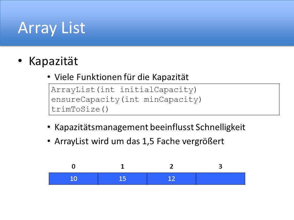 Array List Kapazität Viele Funktionen für die Kapazität Kapazitätsmanagement beeinflusst Schnelligkeit ArrayList wird um das 1,5 Fache vergrößert 0123 101512 ArrayList(int initialCapacity) ensureCapacity(int minCapacity) trimToSize()