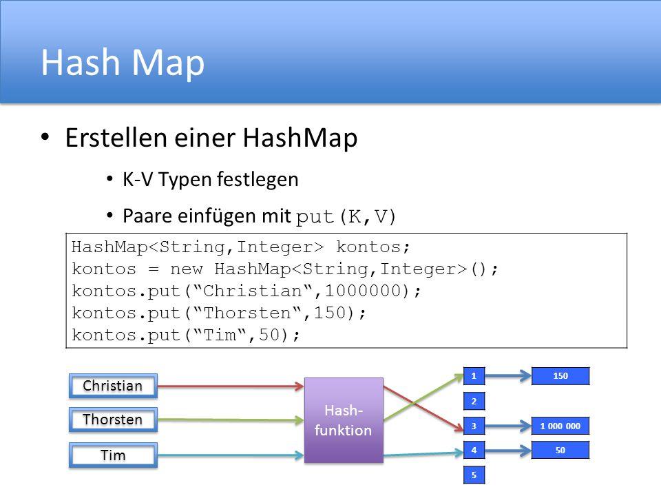 Hash Map Erstellen einer HashMap K-V Typen festlegen Paare einfügen mit put(K,V) Christian Thorsten Tim Hash- funktion Hash- funktion HashMap kontos; kontos = new HashMap (); kontos.put(Christian,1000000); kontos.put(Thorsten,150); kontos.put(Tim,50); 1 2 3 4 5 150 1 000 000 50