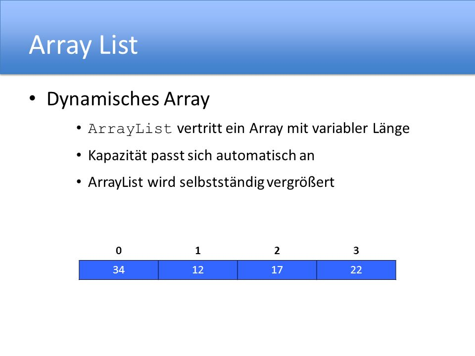 01234567 Array List 01 Lösung: Einfügen von 8 Elementen 01 10 01234567 01 ArrayList liste; liste = new ArrayList (2); liste.add(10); liste.ensureCapacity(8); liste.add(15); liste.add(13); 01234567 10 liste.add(22); liste.add(17); liste.add(28); liste.add(31); liste.add(20); 01234567 10 01234567 15 01234567 1015 01234567 101513