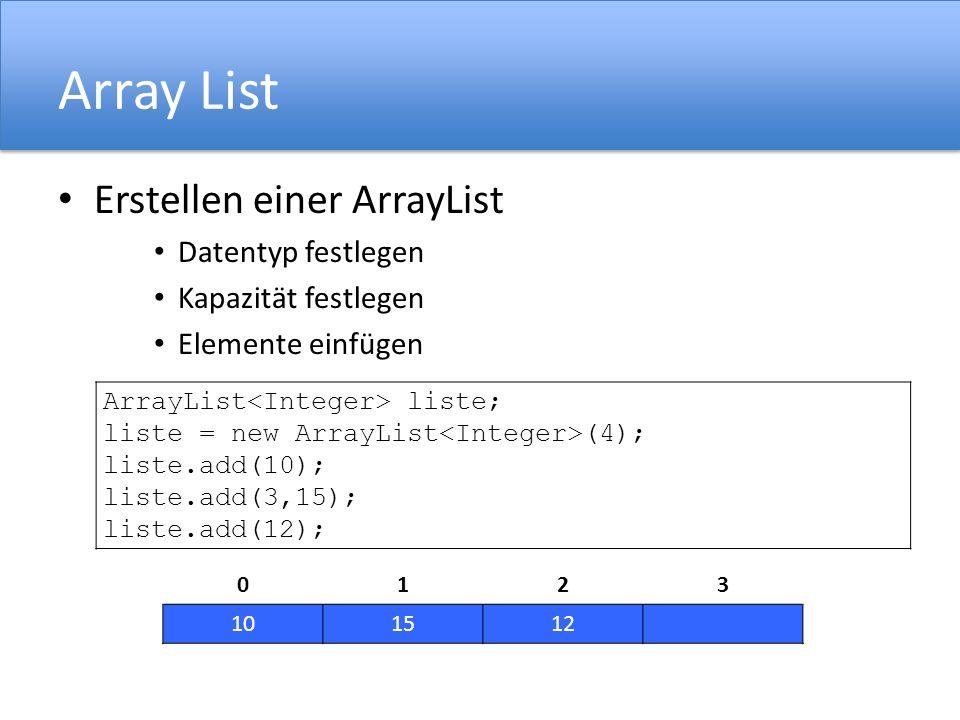 Array List Erstellen einer ArrayList Datentyp festlegen Kapazität festlegen Elemente einfügen ArrayList liste; liste = new ArrayList (4); liste.add(10); liste.add(3,15); liste.add(12); 0123 101512